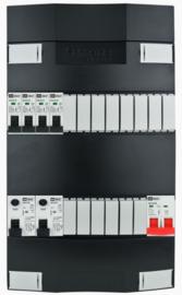1-fase groepenkast met 4 installatieautomaten en 2 aardlekschakelaars met 14 modules vrij voor extra opties