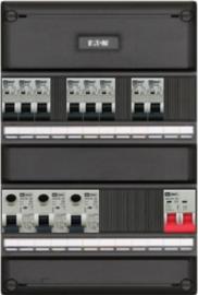 1-fase groepenkast met 8 installatieautomaten en 3 aardlekschakelaars met 8 modules vrij voor extra opties