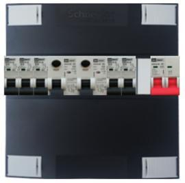 1-fase Schneider groepenkast met 5 Emat installatieautomaten met 1 modules vrij voor extra opties