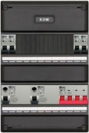 3-fase groepenkast met 4 installatieautomaten en 2 aardlekschakelaars met 8 modules voor extra opties