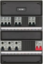 1-fase groepenkast met 7 installatieautomaten en 3 aardlekschakelaars met 9 modules vrij voor extra opties