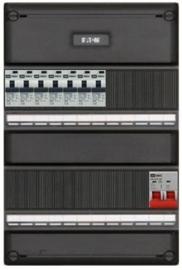 1-fase groepenkast met 7 aardlekautomaten met 15 modules vrij voor extra opties
