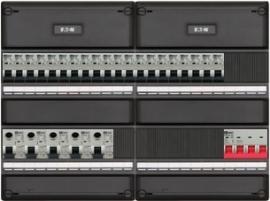 3-fase groepenkast met 20 installatieautomaten en met 14 modules vrij voor extra opties (volgens nieuwe NEN1010 norm)