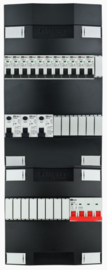 3-fase Schneider groepenkast met 11 installatieautomaten en met 15 modules vrij voor extra opties (volgens nieuwe NEN1010 norm)