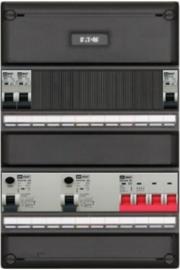 3-fase groepenkast met 3 installatieautomaten en 2 aardlekschakelaars met 9 modules voor extra opties