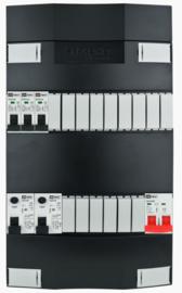 1-fase groepenkast met 3 installatieautomaten en 2 aardlekschakelaars met 15 modules vrij voor extra opties