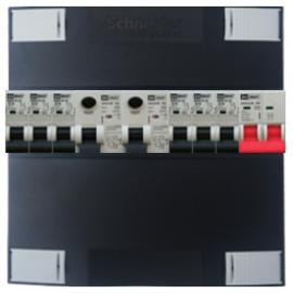1-fase Schneider groepenkast met 6 Emat installatieautomaten