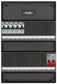 1-fase groepenkast met 5 aardlekautomaten met 17 modules vrij voor extra opties