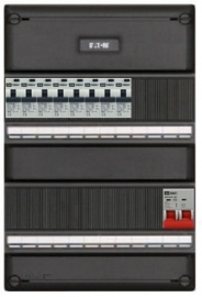 1-fase groepenkast met 8 aardlekautomaten met  14 modules vrij voor extra opties