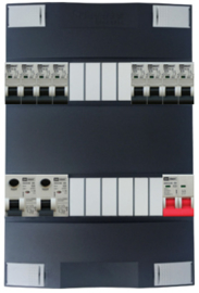 1-fase Schneider groepenkast met 8 Emat installatieautomaten met 10 modules vrij voor extra opties