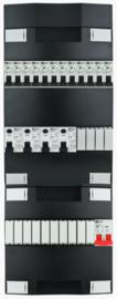1-fase groepenkast met 12 installatieautomaten en 4 aardlekschakelaars met 14 modules vrij voor extra opties