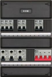 3-fase groepenkast met 7 installatieautomaten en 3 aardlekschakelaars met 7 modules vrij voor extra opties (volgens nieuwe NEN1010 norm)