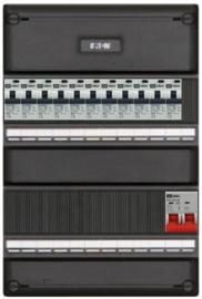 1-fase groepenkast met 11 aardlekautomaten met 11 modules vrij voor extra opties