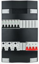 3-fase Schneider groepenkast met 6 installatieautomaten en 3 aardlekschakelaars met 8 modules vrij voor extra opties (volgens nieuwe NEN1010 norm)