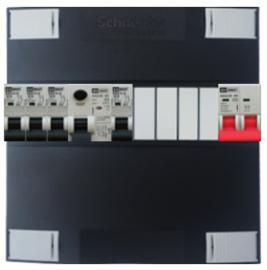 1-fase Schneider groepenkast met 4 Emat installatieautomaten met 4 modules vrij voor extra opties