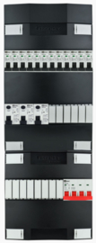 3-fase Schneider groepenkast met 12 installatieautomaten en met 14 modules vrij voor extra opties (volgens nieuwe NEN1010 norm)