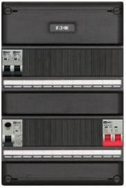 1-fase Eaton groepenkast met 2 installatieautomaten met 18 modules vrij voor extra opties