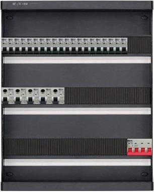 3-fase groepenkast met 20 installatieautomaten en met 38 modules vrij voor extra opties (volgens nieuwe NEN1010 norm)
