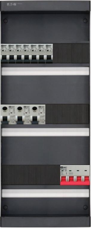 3-fase groepenkast met 7 installatieautomaten en 3 aardlekschakelaars met 19 modules vrij voor extra opties (volgens nieuwe NEN1010 norm)