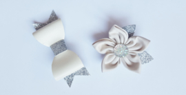 Hair bow with flower-  Beige