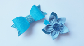 Hair bow with flower-  turquoise