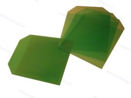 PP 1CD/DVD hoesje met rechte hoeken en klep, transparant/groen, dikte 0.12mm.