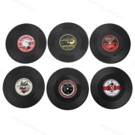 Rockabilly gramophone record coasters - set of 6 pieces