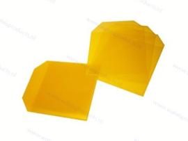 PP 1CD/DVD hoesje met rechte hoeken en klep, transparant/geel, dikte 0.12mm.