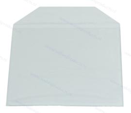 PVC 1 CD/DVD hoesje met klep en rechte hoeken, met volledig zelfklevende achterzijde