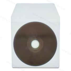 PVC 1CD/DVD hoesje met klep, transparant, dikte 0.14mm.