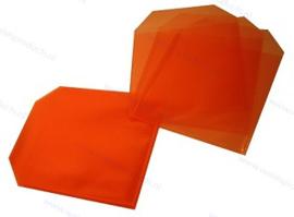 PP 1CD/DVD hoesje met rechte hoeken en klep, transparant/oranje, dikte 0.12mm.