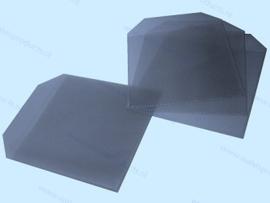 PP 1CD/DVD hoesje met rechte hoeken en klep, transparant/blauw, dikte 0.12mm.