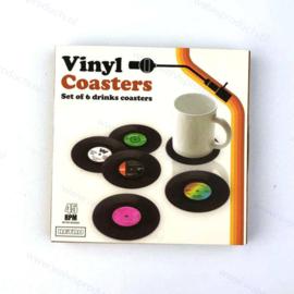 Grammofoonplaten coasters (onderzetters) - set a 6 stuks