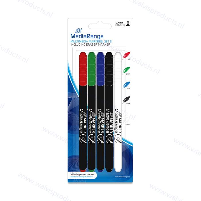 MediaRange Multimedia Markerset | 5er Set (mit Löschstift)