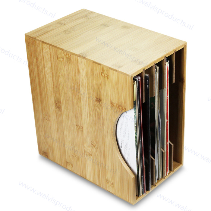 Bamboe Grammofoonplaten Opbergbox - voor ca. 40 LP's