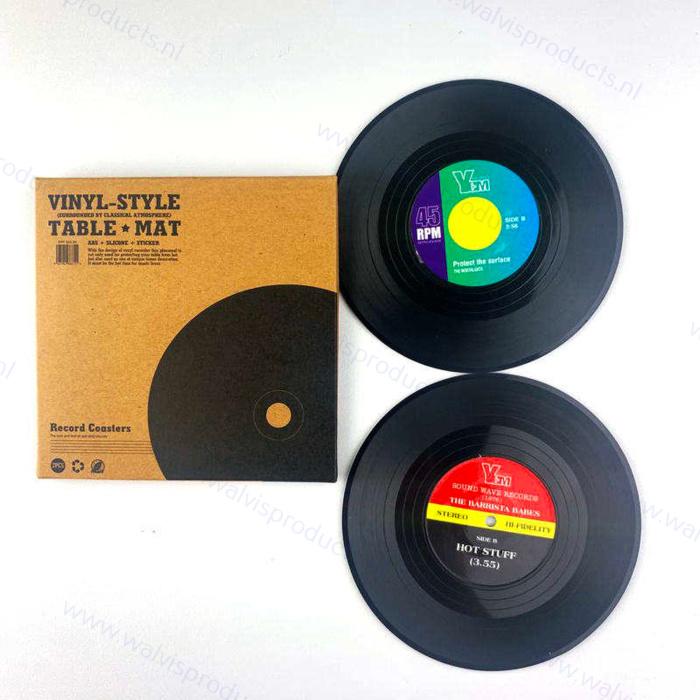 Grammofoonplaten coasters (onderzetters) - set a 2 stuks