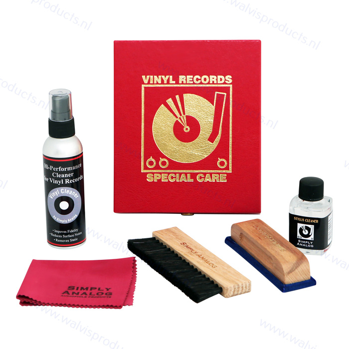 Simply Analog Delux Vinyl Cleaning Boxset | rood kunstlederen giftbox