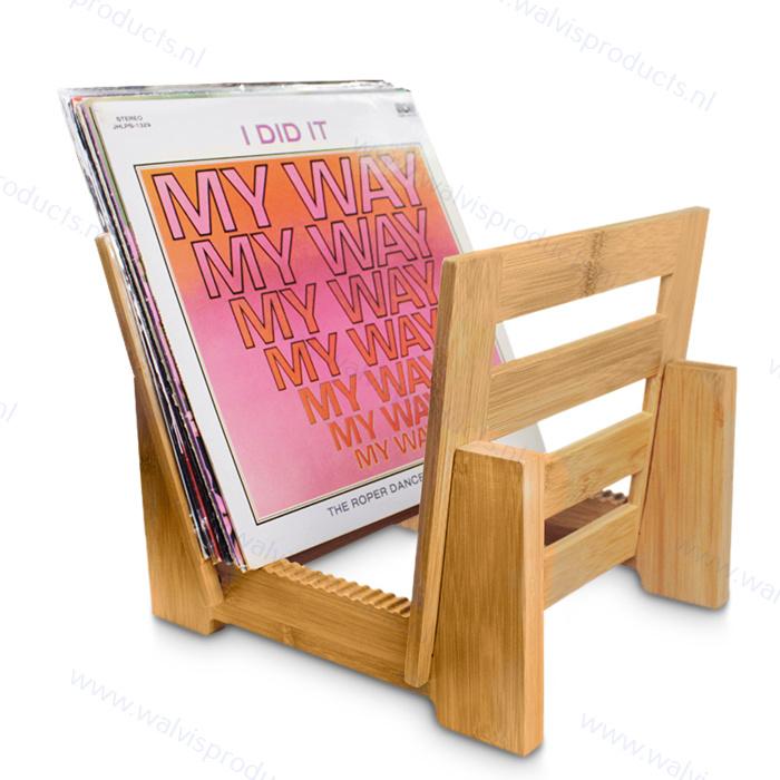 Bamboe Grammofoonplaten Bladerrek - voor ca. 40 LP's
