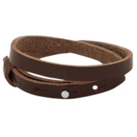 Leren armband met naam donker bruin