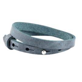 Leren armband met naam antiek blauw