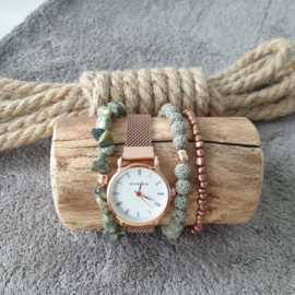 Rosé goudkleurig metalen quartz horloge met bijpassende set armbanden