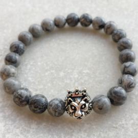 Lion grey agaat armband