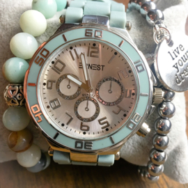 Light blue stone watch set