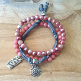 Div. roze stenen met grijs bandje met schuifkraal
