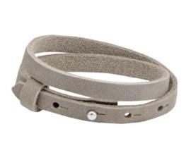 Leren armband met naam grijs beige