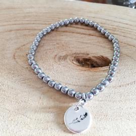 Zilver hematiet armband