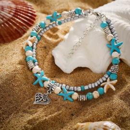 Dubbel enkelbandje beach star
