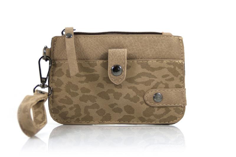 Kleine Beige/Camel kleurige portemonnee met pantermotief