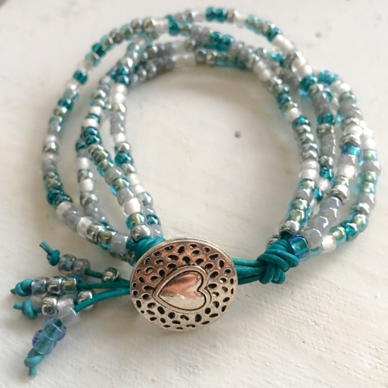 Turquoise mix leather bracelet