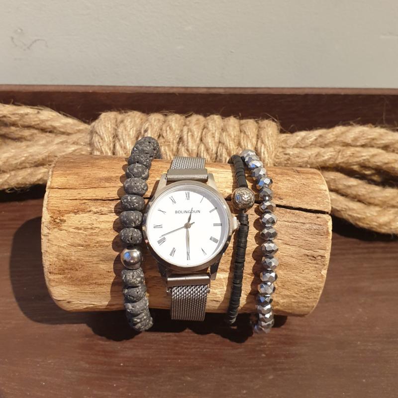 Zilver kleurig metalen quartz horloge met bijpassende set armbanden